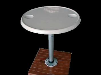 Kunststoff Tisch Satz ( Ø610mm ) mit Aluminium Tischbein ( H=686mm ) und Fuß
