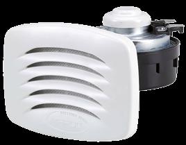 Elektromagnetische Einbau Signalhorn mit Weißem Kunststoff Grill & NIRO Montagebügel Einklang L=14