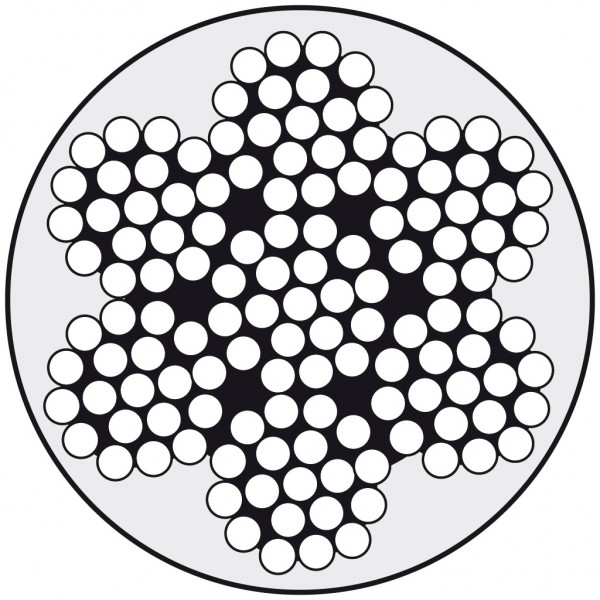 Edelstahldraht Wst.1.4401 7x19 4/5 PVC-klar ummant