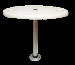Kunststoff Tisch oval Satz ( 457x762mm ) mit Aluminium Tischbein ( H=686mm ) und Fuß