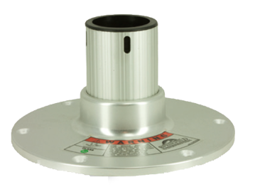Slede met lock 360° draaibaar. Voetplaat Ø 229mm