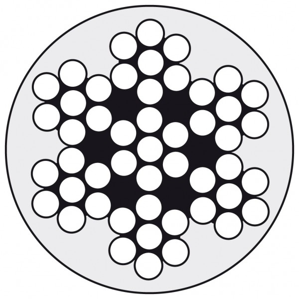 Edelstahldraht Wst.1.4401 7x7 4/8 PVC-weiß ummant.