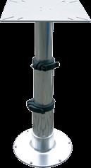 """Aluminium Einstellbarer Tischbein Tristar"""" mit 3-Stufen Gasdruckverstellung H=335-714mm mit flache"""