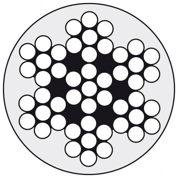 Edelstahldraht Wst.1.4401 7x7 4/7 PVC-weiß ummant.
