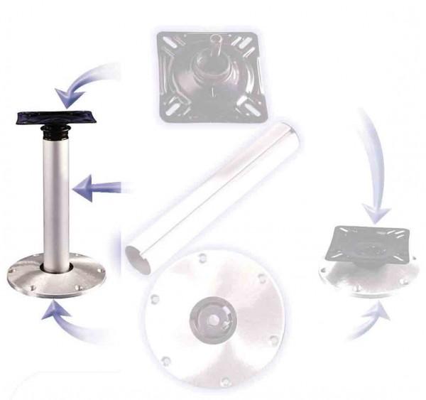 Aluminium High-Low Stuhlfußsatz mit Plug-in Basis
