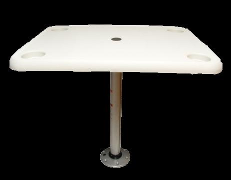 Kunststoff rechteckig Tisch Satz ( 406x711mm ) mit Aluminium Tischbein ( H=686mm ) und Fuß