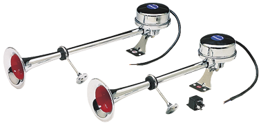 Messingverchromte Elektromagnetische Signalhornsatz Zweiklang L=400/470mm 12V ( 115dB(A)-320/370H